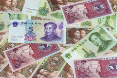 Some Chinese currency. Some small denominations of Chinese currency Stock Photo