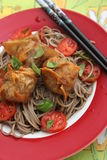 Wan Tan. Some chinese Wan Tan with japanese somen noodles and Tomatoes stock photos