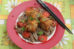 Wan Tan. Some chinese Wan Tan with japanese somen noodles and Tomatoes stock photography