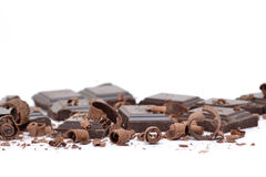 Some Chocolate. Chocolate pieces on white background Royalty Free Stock Photos