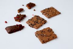 Some chocolate cookies. Chocolate cookies on a white background Royalty Free Stock Images