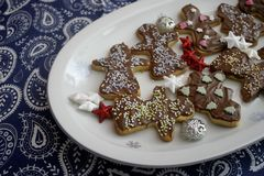 Christmas cookies with chocolate royalty free stock photography