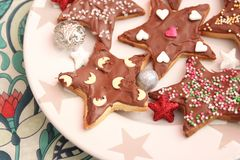 Christmas cookies with sprinkles. Some christmas cookies with chocolate and sprinkles of sugar Stock Image