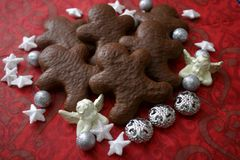 Christmas cookies with chocolate. Some christmas cookies with sugar and dark chocolate royalty free stock photos