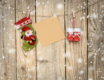 Some christmas decorations. And a note on the twine royalty free stock photo