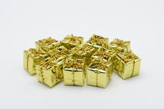 Christmas decorative boxes in yellow Royalty Free Stock Image