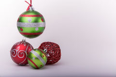 Some christmas ornaments. Over white background Royalty Free Stock Photo