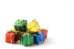 Some christmas presents. Isolated on white background stock images