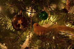 Christmas tree decorations. Some christmas tree decorations bird and ball Stock Image