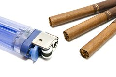 Some cigarettes and plastic lighter. Few cigarettes and plastic lighter on white background Stock Photography