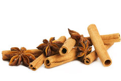Some cinnamon sticks and star anise Stock Images
