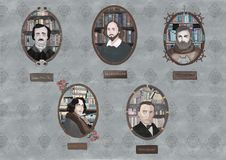 Classic authors stock illustration