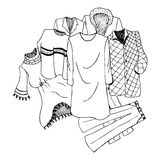 Some clothes. Coloring illustration of some clothes stock illustration
