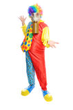 Some clownwearing a gas mask. A man in a clown costume wearing a gasmask on a white background Stock Photography