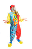 Some clownwearing a gas mask. A man in a clown costume wearing a gasmask on a white background Stock Photo