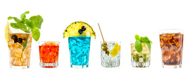 Some cocktail. Some colored mixed cocktail with white background royalty free stock photos