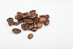 Some Coffee beans. On a white part Stock Images