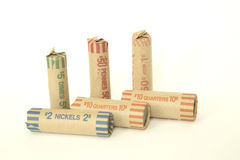 Some coin rolls background Royalty Free Stock Photo