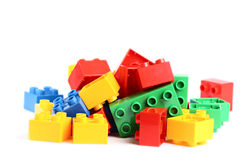 Some colored bricks from game. Isolated on the white stock image