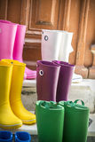 Some colored gum boots Royalty Free Stock Photo