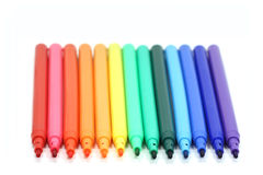 Some colored markers. On white background royalty free stock photography
