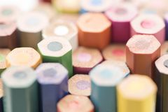 Some colored pencils side view Royalty Free Stock Images