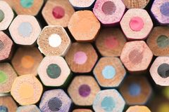 Some colored pencils top view. Some colored pencils making forms Royalty Free Stock Photo