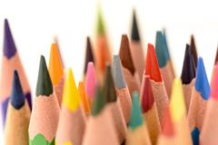 Some colored pencils side view. Some colored pencils making forms Stock Photo