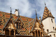 Some colored roofs in Beaune Royalty Free Stock Photos