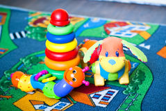 Some colored toys. Pretty colored toys want to play with the baby stock images