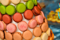 Some colorful and delicious macaroons. With side light Stock Images