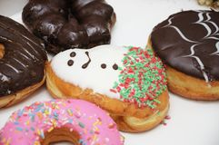 Some colorful donuts of different flavours Royalty Free Stock Photo