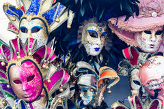 Some colorful masks for Venice carnival for tourists stock photos