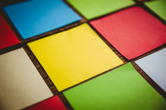 Some Colorful sticky post its. Colorful sticky post its on wooden background Royalty Free Stock Photos