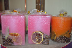 Some coloured candles. Some coloured decorative candles at packing stock images