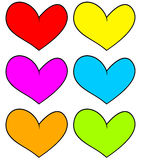 Some Coloured hearts. Heart Icons. Isolated hearts Royalty Free Stock Photography