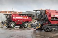 Some Combine harvesters in stock. Combine harvester in stock at Winter. Belarus. Vitebsk. 2014 Stock Images