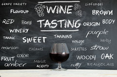 Some concepts on a blackboard during a wine tasting course Royalty Free Stock Image