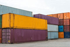 Some container stacking in freight yard ,transport concept Stock Image