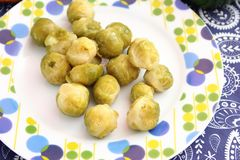 Brussels sprouts. Some cooked Brussels sprouts on a plate Stock Photography