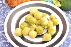 Brussels sprouts. Some cooked Brussels sprouts on a plate Stock Photos