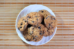 Some cookies on the plate. At the textured background stock images