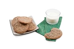 Some cookies on a plate with a glass of milk Royalty Free Stock Photography