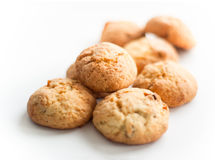 Some cookies on white. Multiple cookies with raisins and nuts on white Royalty Free Stock Photo