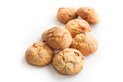 Some cookies on white. Multiple cookies with raisins and nuts on white Stock Photos