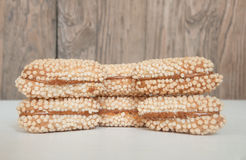 Some cookies on wooden background. Some biscuits lying on a wooden background Stock Photo