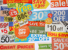 Some coupon offers. Sale and great prices sign on white royalty free stock photos