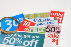 Some coupons isolated on white Stock Images