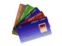 Some credit cards. 3d illustration of some credit cards isolated on white royalty free illustration