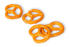 Some crunchy pretzels with salt Royalty Free Stock Images